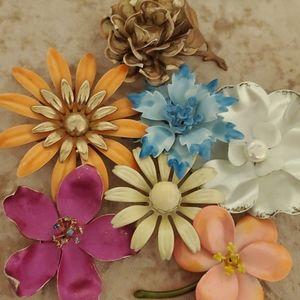 vintage enamel flower brooch pins RETRO
